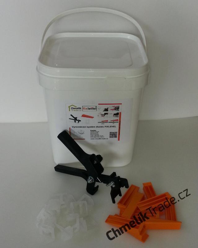 Sada Fixlevel v kbelíku (100ks spona + 100ks klín + kleště) (Pro snadnou a rychlou pokládku obkladů a dlažeb.)