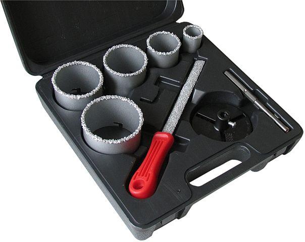 Korunková sada v profi kufříku + pilník - 33, 53, 67, 73, 83 mm - ARTU (K děrování obkladů, cihel, porobetonu, sádrokartonu.)