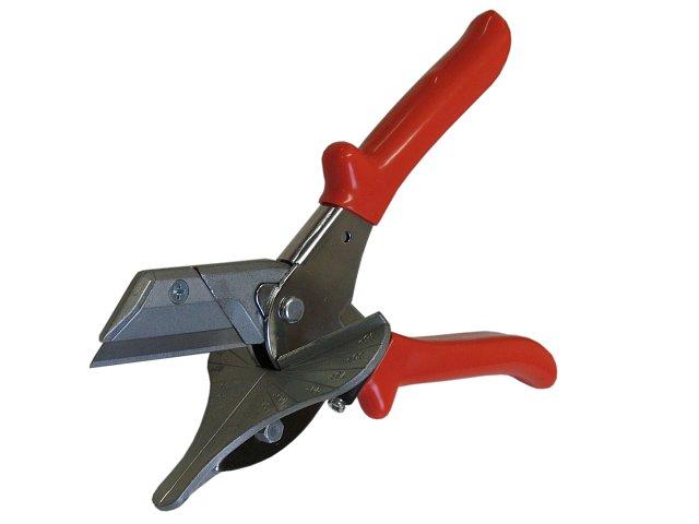 PRO5 Nůžky na PVC lišty - kovová podložka, výměnný trapézový nůž (Profesionální úhlové nůžky na plastové profily.)