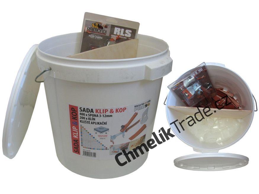 Sada KLIP & KOP v kbelíku (400ks spona + 200ks klín + kleště) (400 ks spona 3-12mm + 200 ks klín + podlahové kleště.)