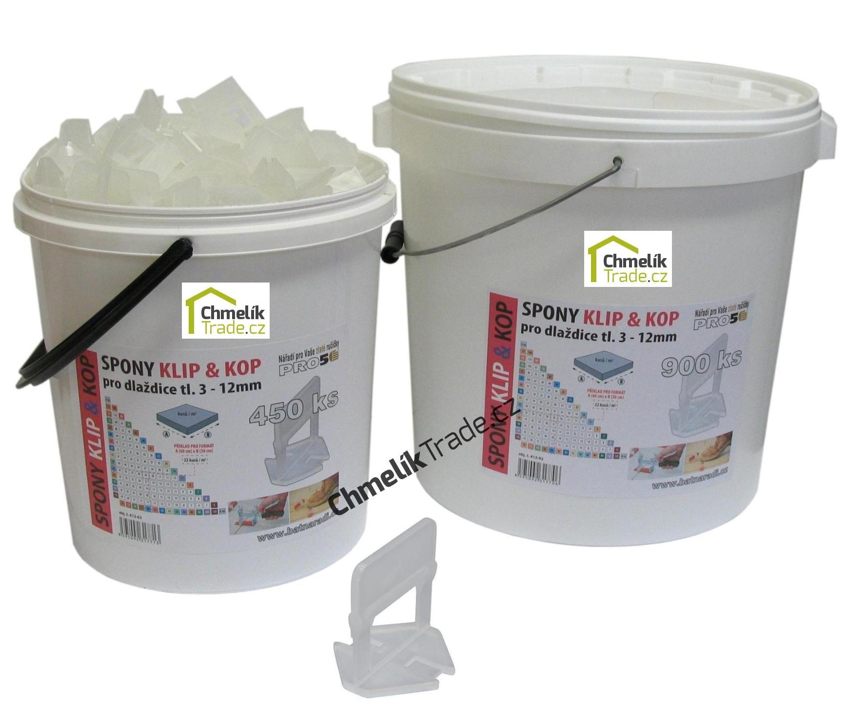 Spona KLIP & KOP pro tl. 3-12 mm (450ks/bal) v plastovém kbelíku (Spona KLIP & KOP pro dlaždice tloušťky 3-12 mm.)
