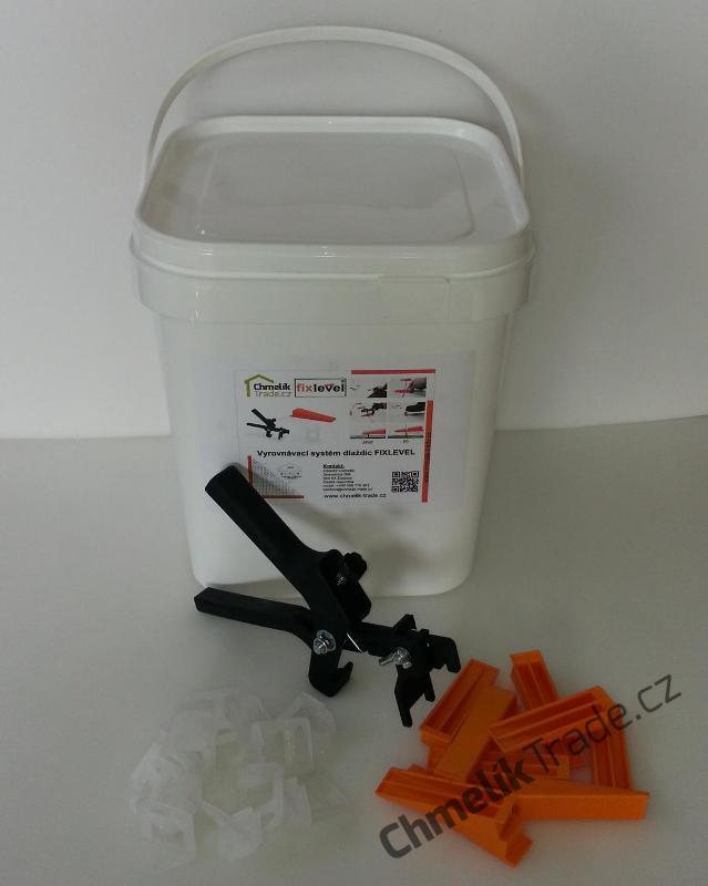 Sada Fixlevel v kbelíku (400ks spona + 200ks klín + kleště) (Pro snadnou a rychlou pokládku obkladů a dlažeb.)